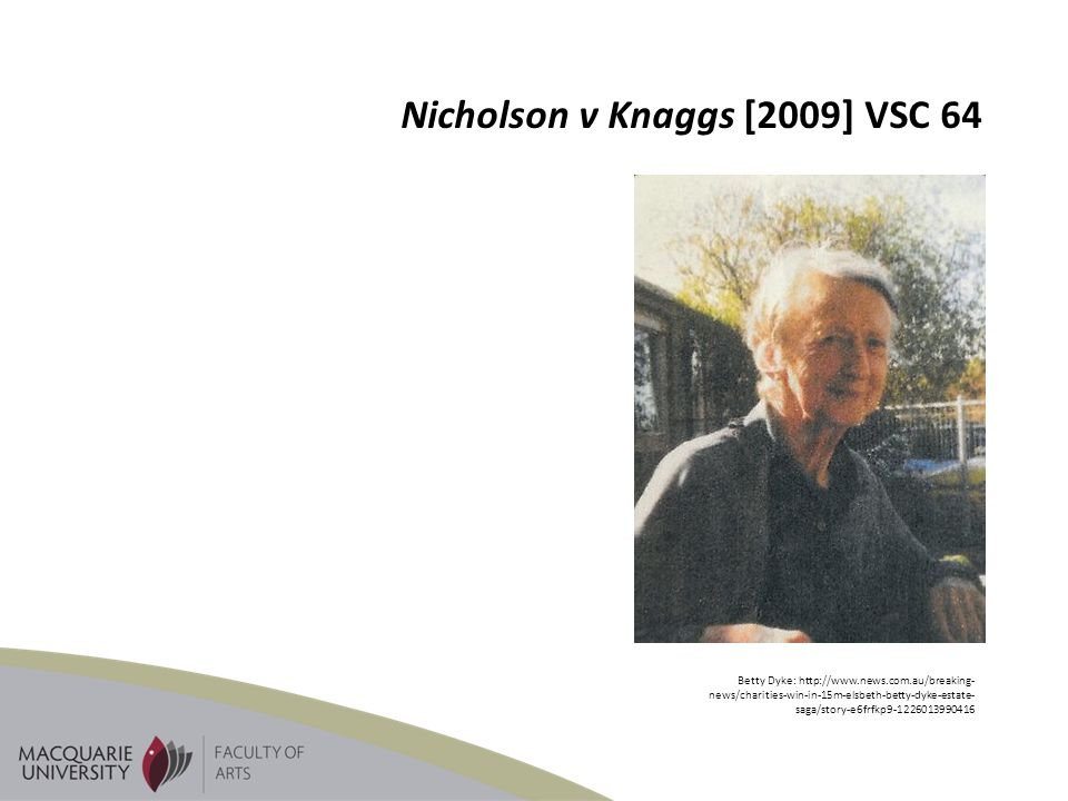 Nicholson v Knaggs [2009] VSC 64